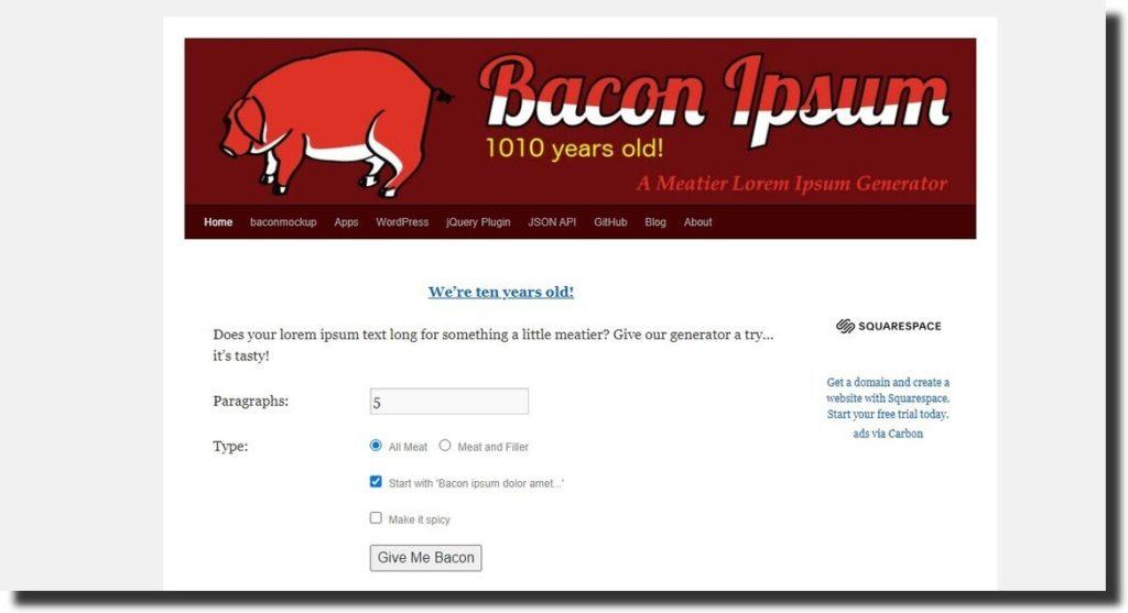 bacon ipsum generator