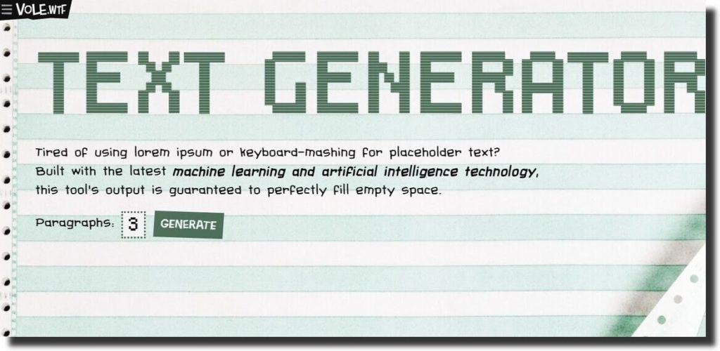 vole text generator