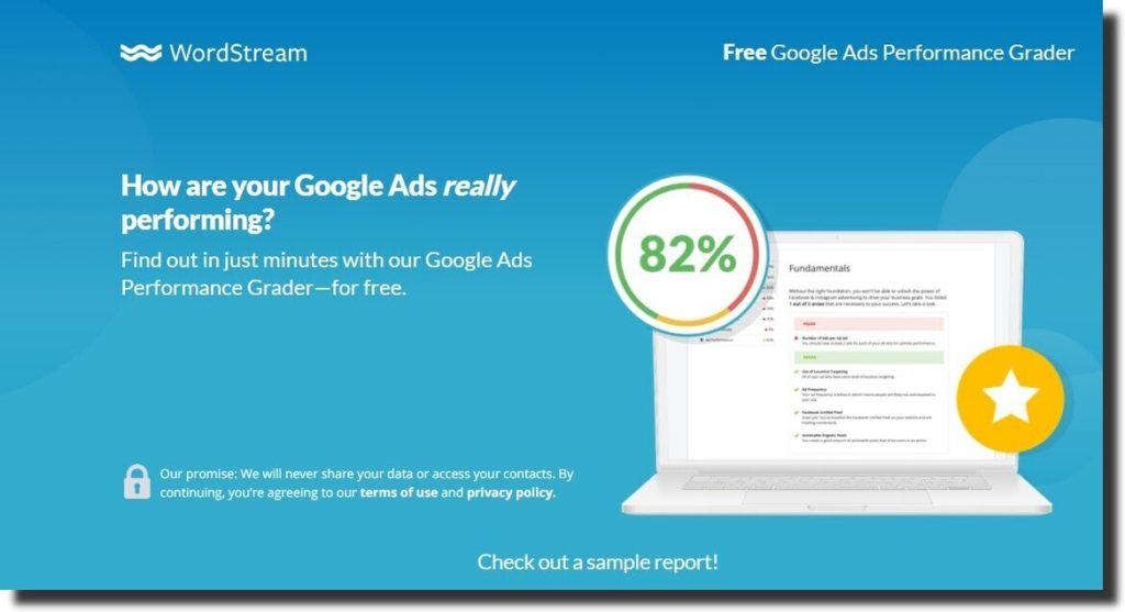 google ads performance grader by wordstream
